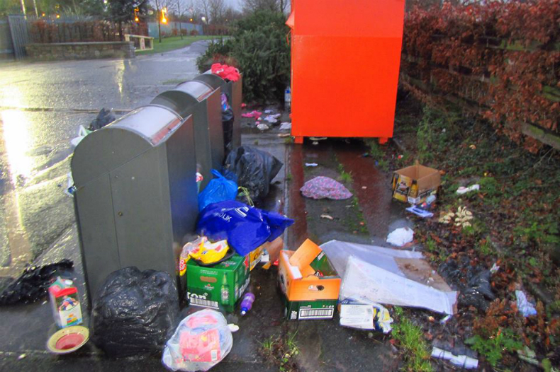 Rubbish dumped at the recycling centre in Sean Walsh Park